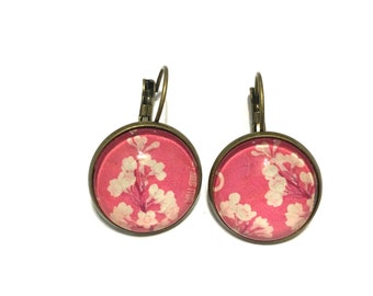 Cherry Blossoms - 1962 Japanese Stamp-Postage Stamp Jewelry - Vintage Postage Stamp Earrings - French Clip Earrings in Antique Bronze Finish