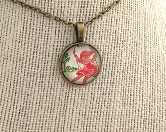 """1975 """"Spring"""" Red Cross French stamp - Postage Stamp Jewelry - Vintage Postage Stamp Necklace - Antique Bronze"""