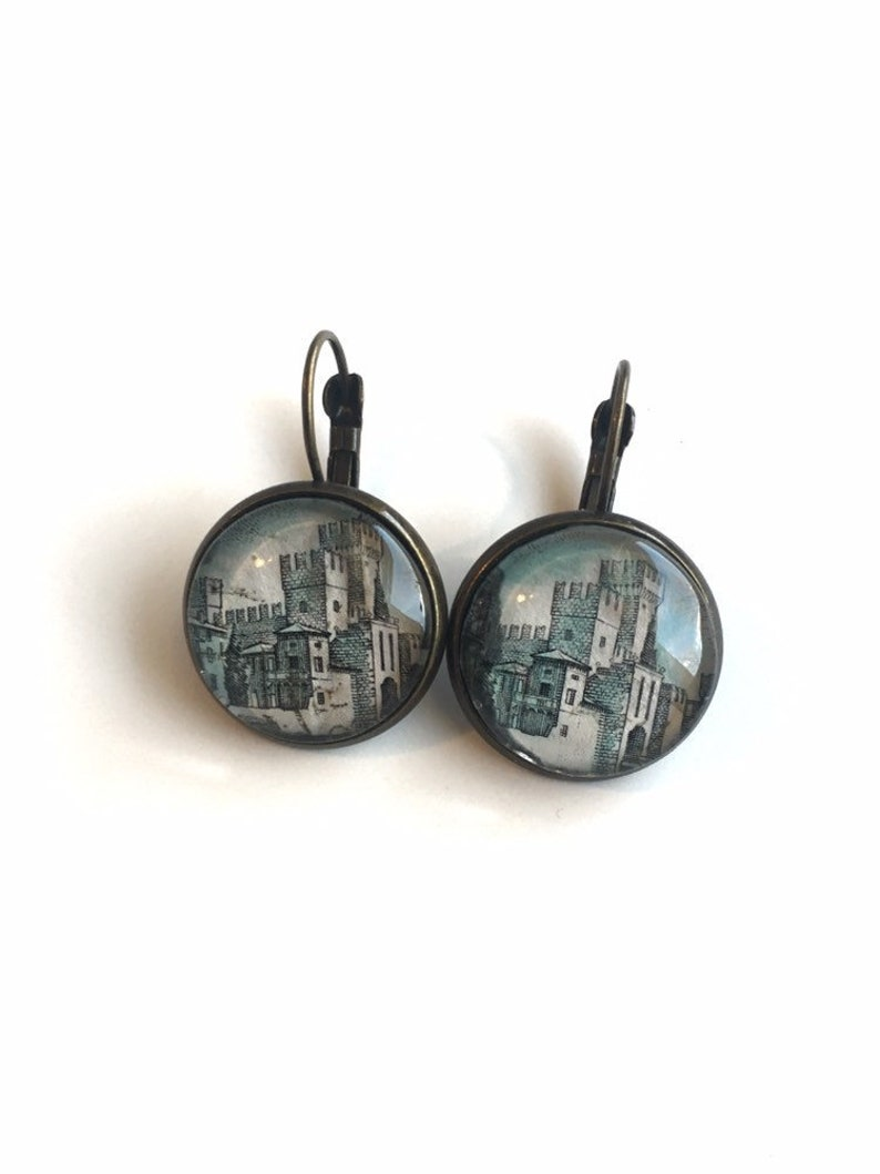 1980 Sirmione Castle  Italian Stamp  Postage stamp earrings image 0