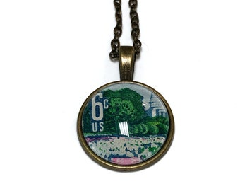 1969 Plant for more beautiful cities US stamp - Postage Stamp Jewelry - Vintage Postage Stamp Necklace - Antique Bronze