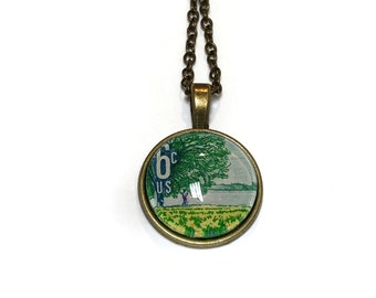 1969 Plant for more beautiful parks US stamp - Postage Stamp Jewelry - Vintage Postage Stamp Necklace - Antique Bronze