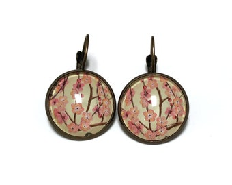 2014 Japanese Cherry Blossom Stamp - Postage stamp jewelry - Postage Stamp Earrings - French clip earrings in antique bronze finish