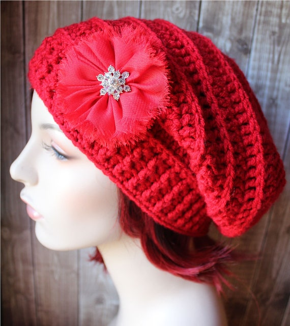 06980f8e2d8 Red Women s Hat Winter Hat Slouch Beanie Slouchy Hat