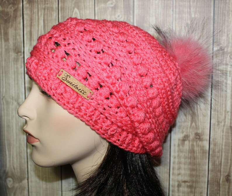 eaa1812ae8b9c Beautiful Coral Vintage Inspired Textured Beanie Fun Faux Fur