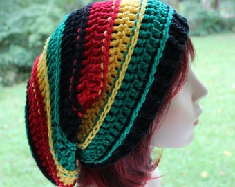Rasta Slouchy Hat, Dreadlocks Hat, Reggae Style Beanie, Women's Hat, Men's Hat, Slouchy Hat, Oversized Slouchy Beanie