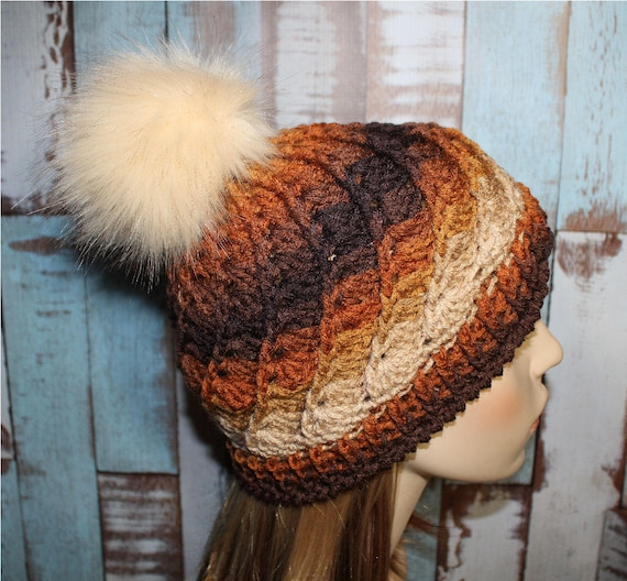 a234757bf5888 Textured Beanie Faux Fur Pom Pom Hat Earth Tones Hat Winter