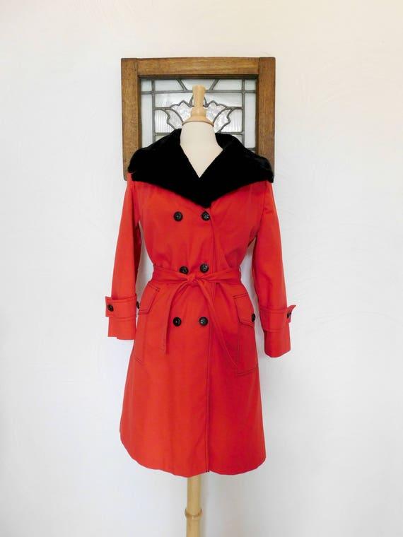 Fur Collar Trench Coat Vintage 70s Red Belted Coat