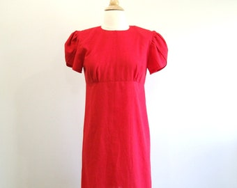 Red Wiggle Dress Vintage Petal Sleeve Dress - M