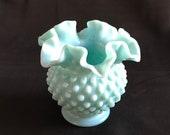 Fenton Turquoise Pastel Hobnail Vase