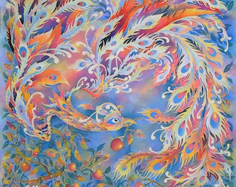"""Silk Scarf Handpainted """"Phoenix"""".One of a Kind Artwork on Habotai Silk. Bright violet-red-gold Scarf. 90 x 90 cm. Ready to Ship."""