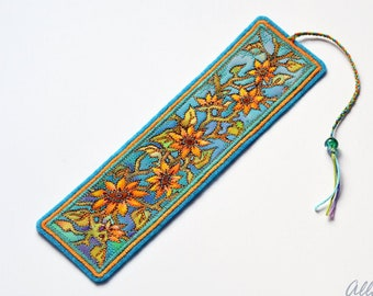 Unique Bookmark Hand Painted. Book lovers gift. Floral bookmark. College student gift. Textile Art Embroidered Bookmark. Fiber Art Gift.