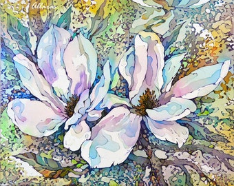 White Magnolia art print from Original Painting on Silk. Floral Art Print. Botanical Print. Flower Painting. Spring Flowers. Gift For Her.