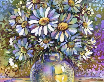 Daisies. Evening Still Life. Original Painting on Silk. 15 x 20 cm. Silk stretched on canvas. Ready to Ship.