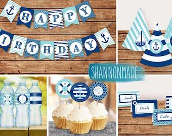 Happy Birthday Nautical Party Bundle Decor Set