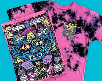 Mad Cats Killer Acid Pink n Black Dye Tshirt