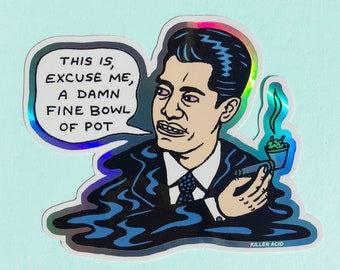 Damn Fine Bowl of Pot Metallic Sticker