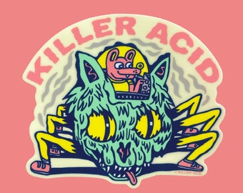 Cat Spider Glow-in-the-Dark Killer Acid Sticker