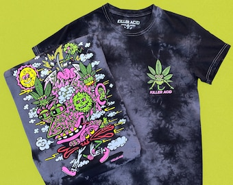 Break On Thru Killer Acid Black Dye Tshirt