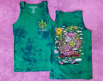 Break on Thru Killer Acid Deep Green Dye Tank Top