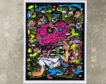 MIND GAMES Flocked Fluorescent Screen Print