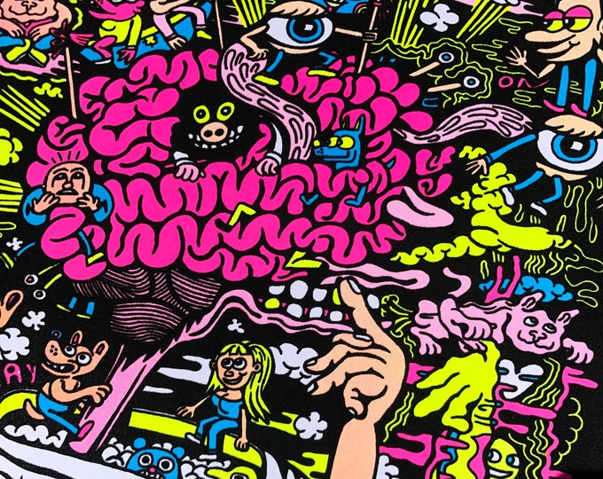 Featured listing image: MIND GAMES Flocked Fluorescent Screen Print