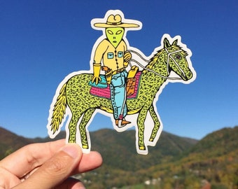 Alien Cowboy Sticker