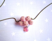 Necklace pink cloud and raindrop. Crochet cloud. Pink gift