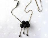 Necklace crochet black Cloud with raindrop. Birthday gift women