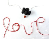 Valentines Necklace Black cloud and red heart. Crochet cloud. Love Necklace cloud