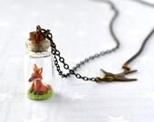 Necklace Tiny fox in bottle.  Woodland Terrarium necklace.