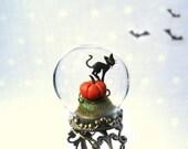 Halloween Ring Pumpkin & black cat - adjustable Terrarium ring.