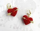 Valentines Earrings crochet red heart and arrow..love earrings