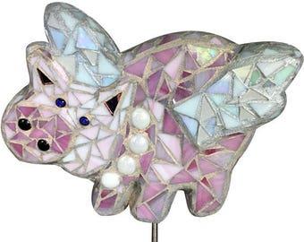 Flying Pig Mosaic Garden Stake