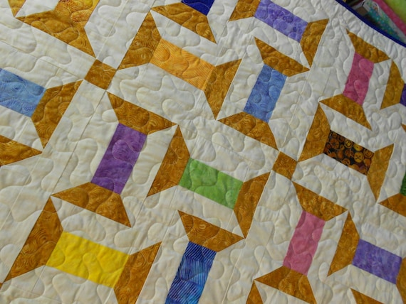 Quilt Pattern Spooling Around Batik Jelly Roll Quilt Etsy