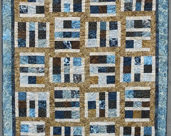 Quilt Pattern  - Driftwood - Layer Cake - Tonga Treat - Crib to King Sizes - Easy - Masculine - PDF INSTANT DOWNLOAD