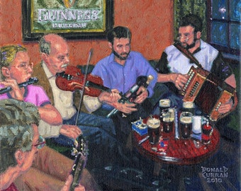 Color Print of Oil Painting, Pub Got Guinness, Ireland