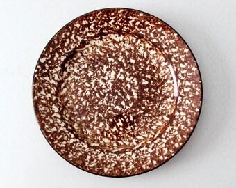 """vintage spongeware plate, Spangl style brown spongeware 10.75"""" dinner plate with black trim"""