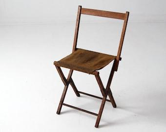 vintage camp stool, wood folding chair