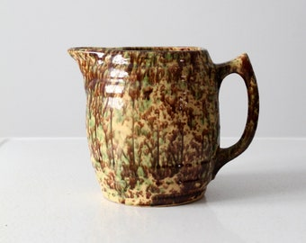 antique green and brown spongeware pitcher