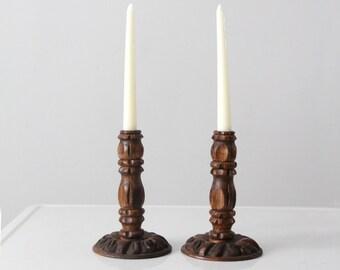 vintage carved wooden candlestick holders
