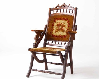 """Victorian tapestry chair, 1800s folding """"lawn"""" chair"""