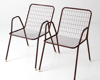Mid Century Patio Chairs, Metal Wire Chairs   Set Of 2