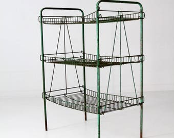 Exceptionnel Industrial Wire Rack, Vintage Green Metal Shelf