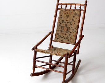 Victorian rocking chair tapestry chair & Bamboo rocking chair   Etsy