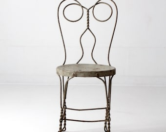 High Quality Vintage Ice Cream Parlor Chair, Vintage Metal Cafe Chair, Bistro Chair