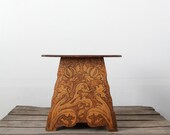 Antique Wood Table / 1900s Pyrography Table / Art Nouveau
