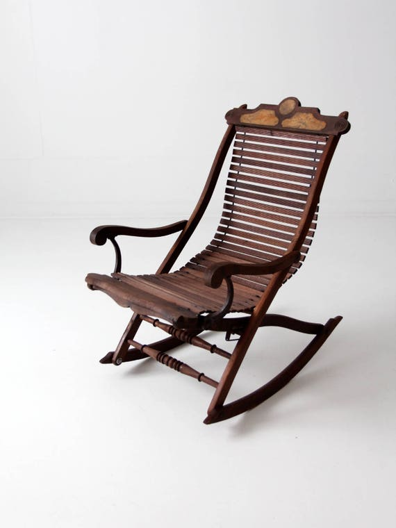 Awesome Antique Rocking Chair Victorian Slat Wood Lounge Rocker Chair Beatyapartments Chair Design Images Beatyapartmentscom