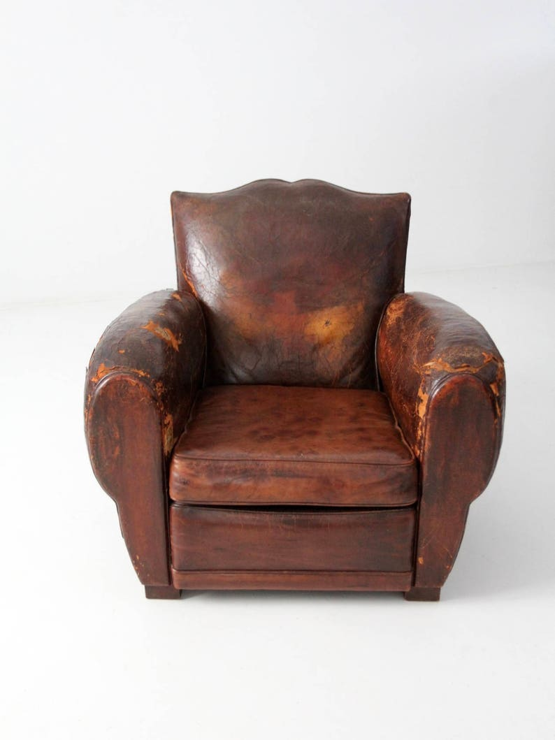 Terrific Antique French Leather Club Chair Distressed Mustache Back Club Chair Cjindustries Chair Design For Home Cjindustriesco