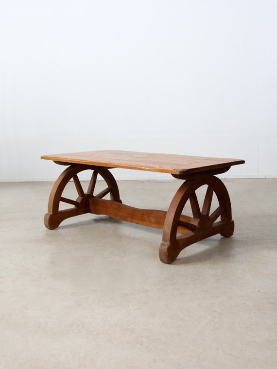 1940s Monterey Style Coffee Table Wagon Wheel Table Etsy