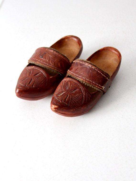 vintage kid's folk art wooden clogs with leather